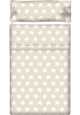 Completo Lenzuolo Cotone - Estrellas Bianche - Sfondo Sabbia
