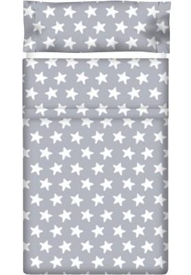 Completo Lenzuolo Cotone - Estrellas Bianche - Sfondo Grigio Luna