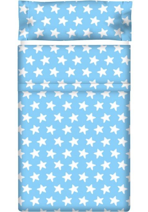 Completo Lenzuolo Cotone - Estrellas Bianche - Sfondo Azzurro