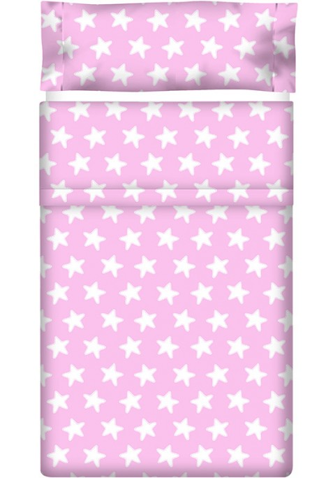 Completo Lenzuolo Cotone - Estrellas Bianche - Sfondo Rosa