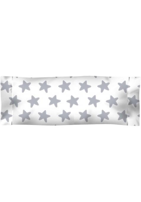 Federa da guanciale Cotone - Estrellas Grige Luna - Sfondo Bianco