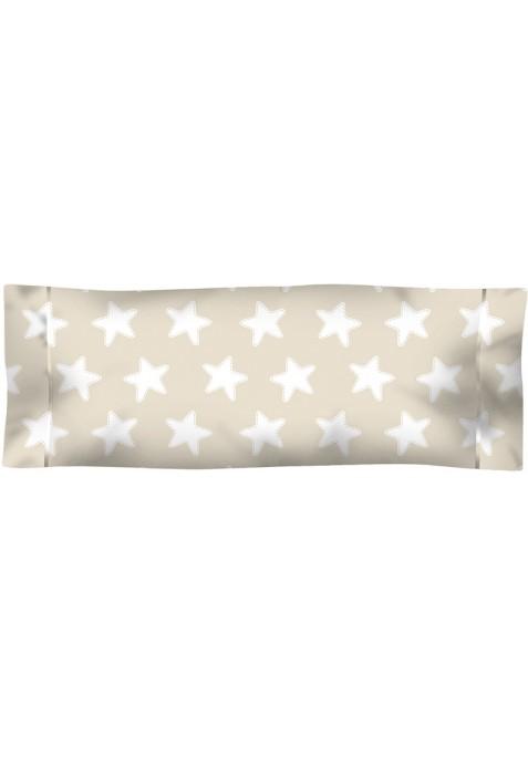 Federa da guanciale Cotone - Estrellas Bianche - Sfondo Sabbia