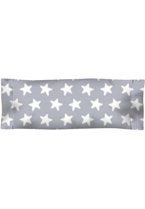 Federa da guanciale Cotone - Estrellas Bianche - Sfondo Grigio Luna