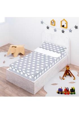 """Completo """"Pronto per dormire"""" con cerniera e estensibile Cotone - Estrellas Bianche - Sfondo Grigio Luna"""