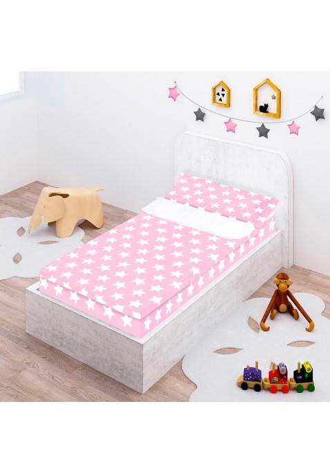"""Completo """"Pronto per dormire"""" con cerniera e estensibile Cotone - Estrellas Blancas - Fondo Rosa"""
