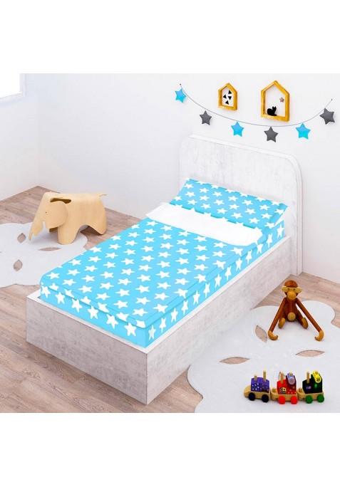 """Completo """"Pronto per dormire"""" con cerniera e estensibile Cotone - Estrellas Bianche - Sfondo Azzurro"""
