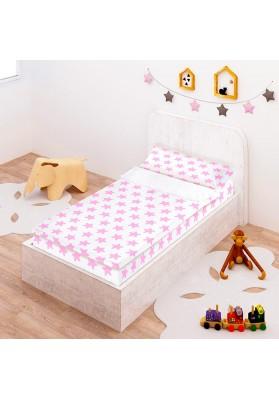 """Completo """"Pronto per dormire"""" con cerniera e estensibile Cotone - Estrellas Rosa - Sfondo Bianco"""