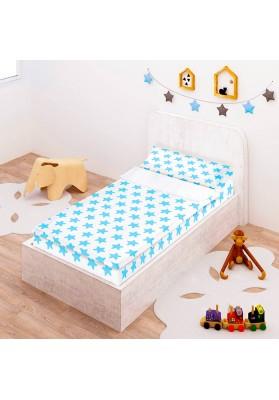 """Completo """"Pronto per dormire"""" con cerniera e estensibile Cotone - Estrellas Azzurre - Sfondo Bianco"""