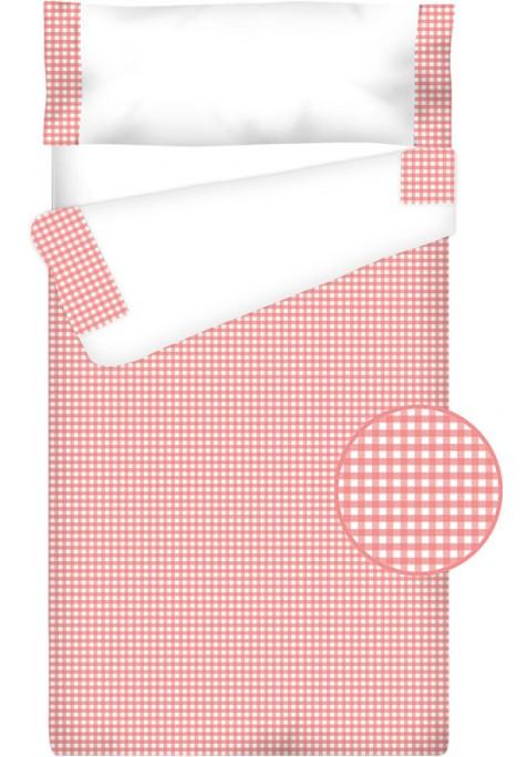 """Completo """"Pronto per dormire"""" con cerniera e estensibile Cotone e Vichy - QUADRETTI rosa"""