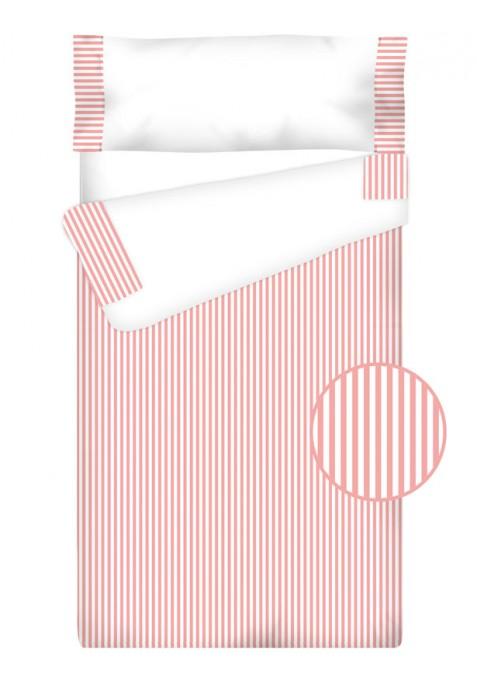 """Completo """"Pronto per dormire"""" con cerniera e estensibile Cotone e Vichy - RIGHE rosa"""