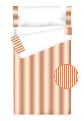 """Completo """"Pronto per dormire"""" con cerniera e estensibile Cotone e Vichy - RIGHE arancio"""