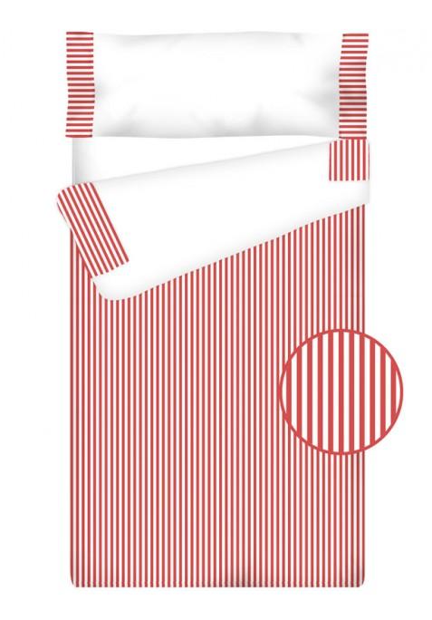 """Completo """"Pronto per dormire"""" con cerniera e estensibile Cotone e Vichy - RIGHE rosso"""