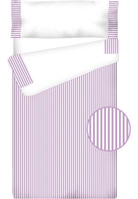 """Completo """"Pronto per dormire"""" con cerniera e estensibile Cotone e Vichy - RIGHE lilla"""