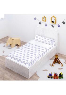 """Completo """"Pronto per dormire"""" con cerniera e estensibile Cotone - Estrellas Lilla - Sfondo Bianco"""