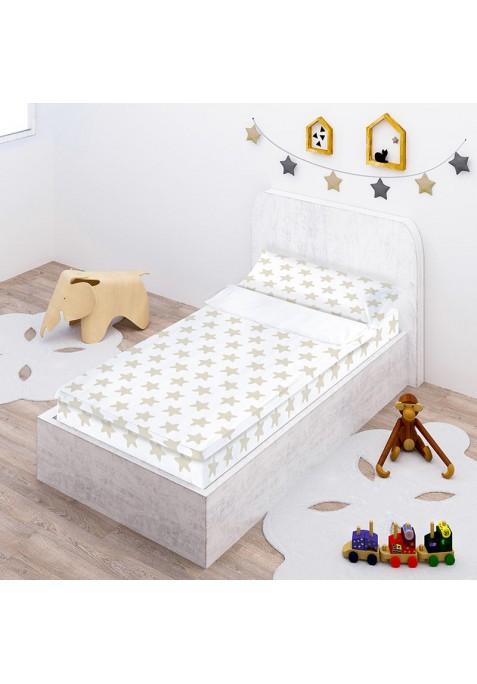 """Completo """"Pronto per dormire"""" con cerniera e estensibile Cotone - Estrellas Sabbia - Sfondo Bianco"""