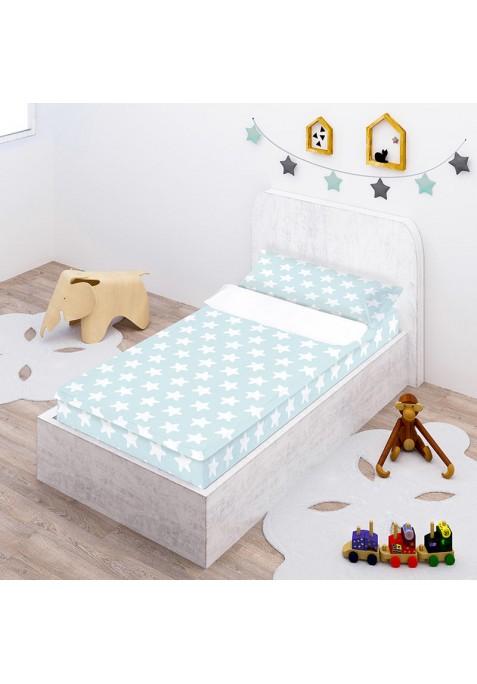 """Completo """"Pronto per dormire"""" con cerniera e estensibile Cotone - Estrellas Bianche - Sfondo Smeraldo"""