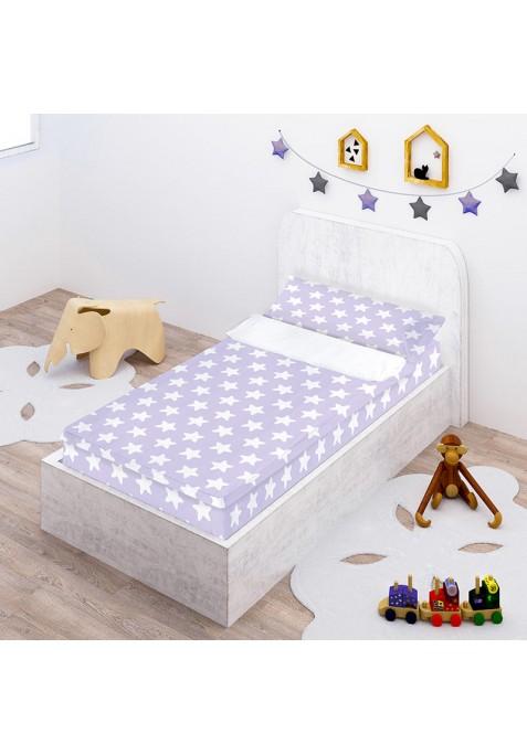"""Completo """"Pronto per dormire"""" con cerniera e estensibile Cotone - Estrellas Bianche - Sfondo Lilla"""