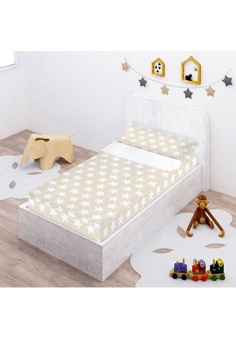 """Completo """"Pronto per dormire"""" con cerniera e estensibile Cotone - Estrellas Bianche - Sfondo Sabbia"""