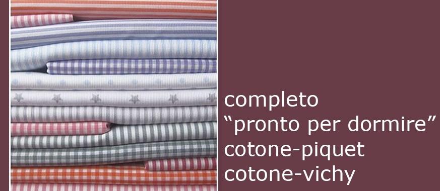 "Completo ""PRONTO PER DORMIRE"" ESTENSIBILE COTONE-PIQUET / COTONE-VICHY"